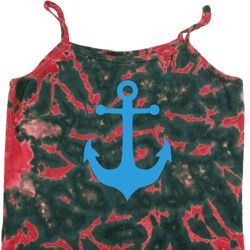 Ladies Sailing Tanktop Blue Anchor Tie Dye Camisole Tank Top