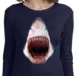 Ladies Shark Shirt 3D Shark Long Sleeve Tee T-Shirt