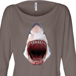 Ladies Shark Shirt 3D Shark Off Shoulder Tee T-Shirt