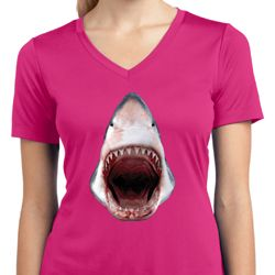 Ladies Shirt 3D Shark Moisture Wicking V-neck Tee T-Shirt