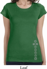 Ladies Shirt 7 Chakras Bottom Print Longer Length Tee T-Shirt