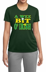 Ladies Shirt A Wee Bit Irish Shamrock Moisture Wicking Tee T-Shirt