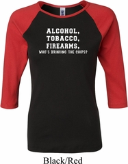 Ladies  Shirt Alcohol Tobacco Firearms ATF Raglan Tee T-Shirt