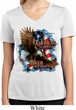Ladies Shirt American By Birth Moisture Wicking V-neck Tee
