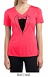 Ladies Shirt Basic Black Tuxedo Moisture Wicking V-neck Tee T-Shirt