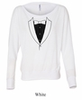 Ladies Shirt Basic Black Tuxedo Off Shoulder Tee T-Shirt