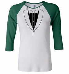 Ladies Shirt Basic Black Tuxedo Raglan Tee T-Shirt