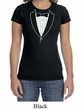 Ladies Shirt Basic White Tuxedo Crewneck Tee T-Shirt