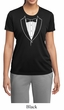 Ladies Shirt Basic White Tuxedo Moisture Wicking Tee T-Shirt