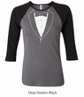 Ladies Shirt Basic White Tuxedo Raglan Tee T-Shirt