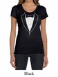Ladies Shirt Basic White Tuxedo Scoop Neck Tee T-Shirt