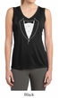 Ladies Shirt Basic White Tuxedo Sleeveless Moisture Wicking Tee
