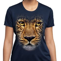 Ladies Shirt Big Leopard Face Moisture Wicking Tee T-Shirt