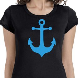 Ladies Shirt Blue Anchor Longer Length Tee T-Shirt