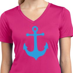 Ladies Shirt Blue Anchor Moisture Wicking V-neck Tee