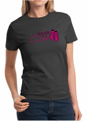 Ladies Shirt Breast Cancer Awareness Walkin For a Cure Tee T-Shirt