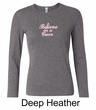 Ladies Shirt Breast Cancer Believe in a Cure Long Sleeve Tee T-Shirt