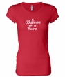 Ladies Shirt Breast Cancer Believe in a Cure Longer Length Tee T-Shirt