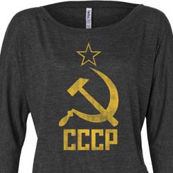 Ladies Shirt CCCP Distressed Off Shoulder Tee T-Shirt