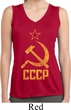 Ladies Shirt CCCP Distressed Sleeveless Moisture Wicking Tee