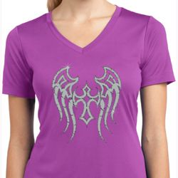 Ladies Shirt Cross Wings Moisture Wicking V-neck Tee
