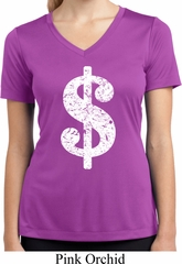 Ladies Shirt Distressed Dollar Sign Moisture Wicking V-neck T-Shirt
