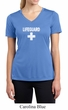 Ladies Shirt Distressed Lifeguard Moisture Wicking V-neck Tee T-Shirt