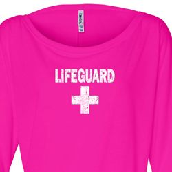 Ladies Shirt Distressed Lifeguard Off Shoulder Tee T-Shirt
