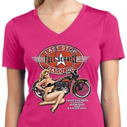 Ladies Shirt Full Service Gas Moisture Wicking V-neck Tee T-Shirt