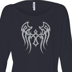 Ladies Shirt Cross Wings Off Shoulder Tee T-Shirt