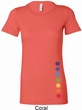 Ladies Shirt Glowing Chakras Bottom Print Longer Length Tee T-Shirt