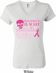 Ladies Shirt Halloween Scary Breast Cancer Deadly V-neck Tee T-Shirt