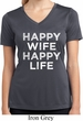 Ladies Shirt Happy Wife Happy Life Moisture Wicking V-neck Tee T-Shirt