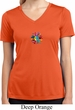 Ladies Shirt Hippie Sun Patch Middle Moisture Wicking V-neck Tee