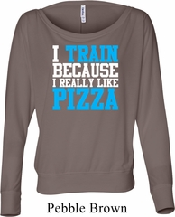 Ladies Shirt I Train For Pizza Off Shoulder Tee T-Shirt