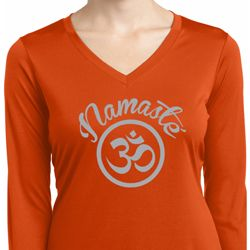 Ladies Shirt Namaste Om Dry Wicking Long Sleeve Tee
