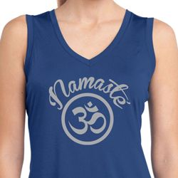 Ladies Shirt Namaste Om Sleeveless Moisture Wicking Tee