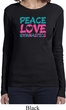Ladies Shirt Peace Love Gymnastics Long Sleeve Tee T-Shirt