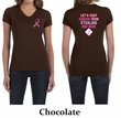 Ladies Shirt Pink Ribbon 2nd Base Front & Back Print V-neck Tee
