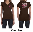 Ladies Shirt Pink Ribbon Faith Love Front & Back Print V-neck Tee