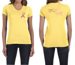 Ladies Shirt Pink Ribbon For My Daughter Front & Back Print V-neck Tee