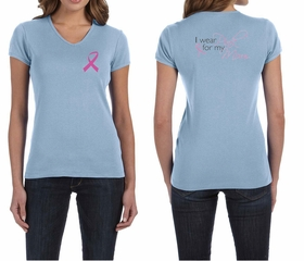 Ladies Shirt Pink Ribbon For My Mom Front & Back Print V-neck Tee