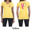 Ladies Shirt Pink Ribbon Heart Front & Back Print V-neck Tee T-Shirt