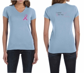 Ladies Shirt Pink Ribbon My Cousin Front & Back Print V-neck Tee