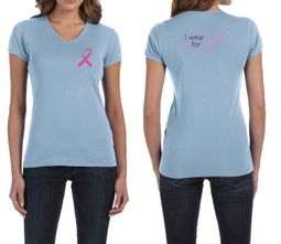 Ladies Shirt Pink Ribbon Pink For Me Front & Back Print V-neck Tee