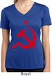 Ladies Shirt Red Hammer And Sickle Moisture Wicking V-neck Tee T-Shirt