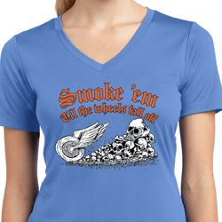 Ladies Shirt Smoke Em Moisture Wicking V-neck Tee