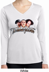 Ladies Shirt Stooges Faces White Dry Wicking Long Sleeve Tee T-Shirt