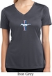 Ladies Shirt The Legend Lives Small Print Moisture Wicking V-neck Tee