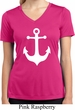 Ladies Shirt White Anchor Moisture Wicking V-neck Tee